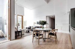 北歐風格82平米公寓餐廳木地板裝修圖片