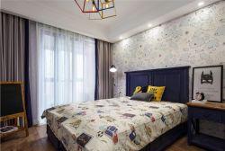 簡約美式風格三居新房臥室布置圖片