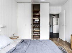 北歐風格臥室白色衣柜設計裝修圖片