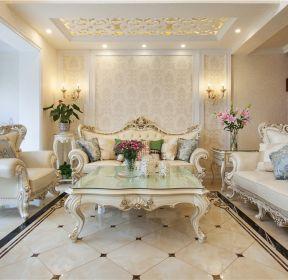 歐式風格200平米躍層客廳沙發墻裝修實景圖片-每日推薦