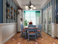地中海風格125平三居室餐廳墻面裝飾效果圖