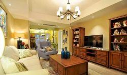 140平米三居簡美式風格客廳實木電視柜設計圖片