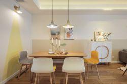簡約北歐風格128平三房餐廳背景墻設計圖片
