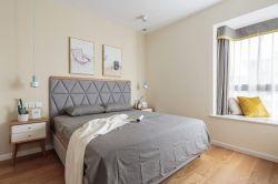 簡約北歐風格128平三房臥室飄窗設計圖片