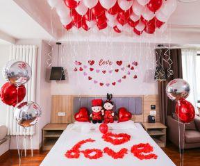 2018婚房卧室气球布置案例 2018婚房卧室设计效果图图片