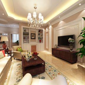 120平米三房简欧风格客厅电视墙装修效果图