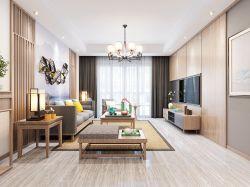 現代中式風格三室兩廳兩衛客廳吊燈裝潢效果圖