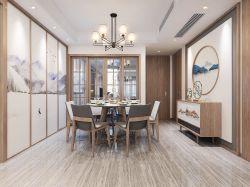 現代中式風格三室兩廳兩衛餐廳吊燈裝潢效果圖