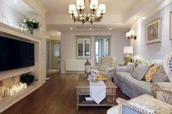 輕美式風格140平三室兩廳客廳沙發設計圖
