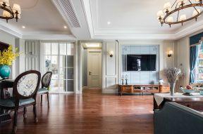 客廳藍色電視墻 淡藍色電視背景墻
