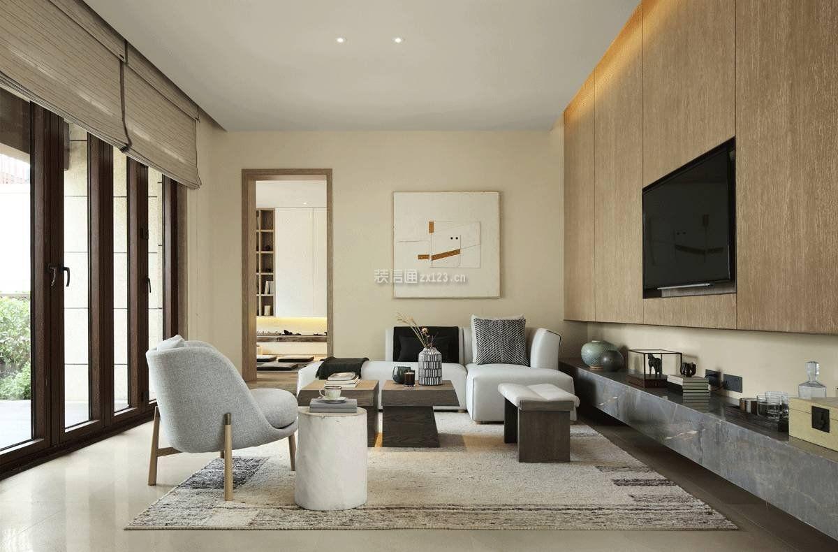 两层别墅客厅室内嵌入式电视背景墙装修效果图图片