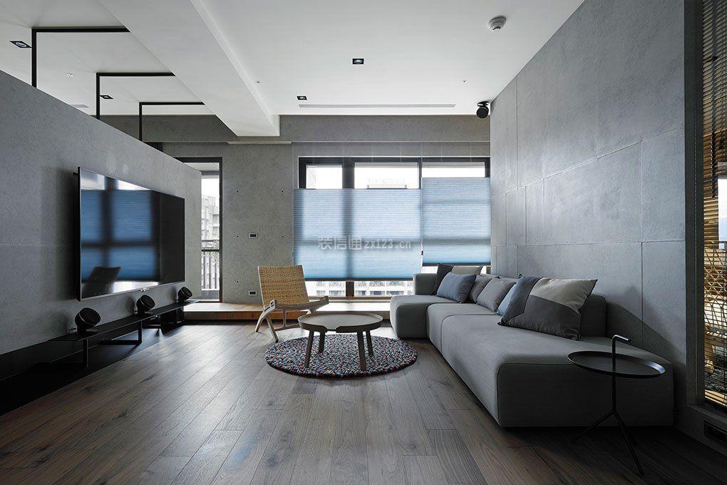 绵阳大户型灰色客厅半墙电视墙装修效果图
