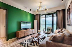 2018客廳吊燈裝修圖片 綠色背景墻效果圖 綠色背景墻設計圖片