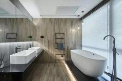 簡約工業風89平二居衛浴間背景墻設計效果圖