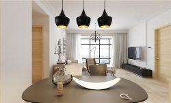 現代簡約120平米三室兩廳餐廳吊燈裝潢效果圖