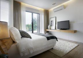 2018臥室落地窗裝修效果圖 臥室落地窗設計圖片 現代簡約臥室電視墻效果圖