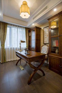 簡美式風格100㎡三居書房實木書桌設計圖片