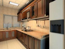 中式風格120平米三居室廚房櫥柜裝修效果圖