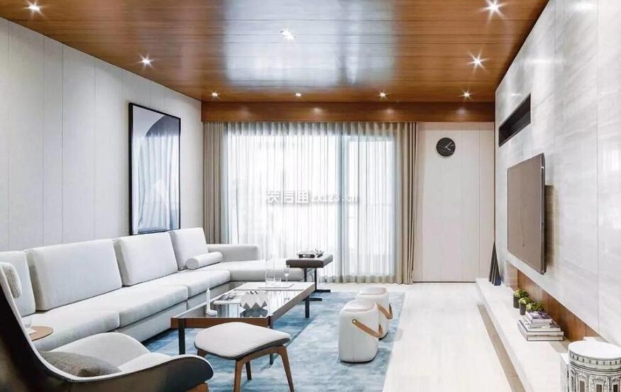 现代风格高端样板房客厅生态木吊顶设计
