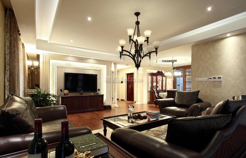 美式风格高端样板房客厅设计效果图2018_装修123效果图