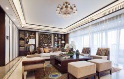 東南亞風格140平三居室客廳茶幾裝修圖片
