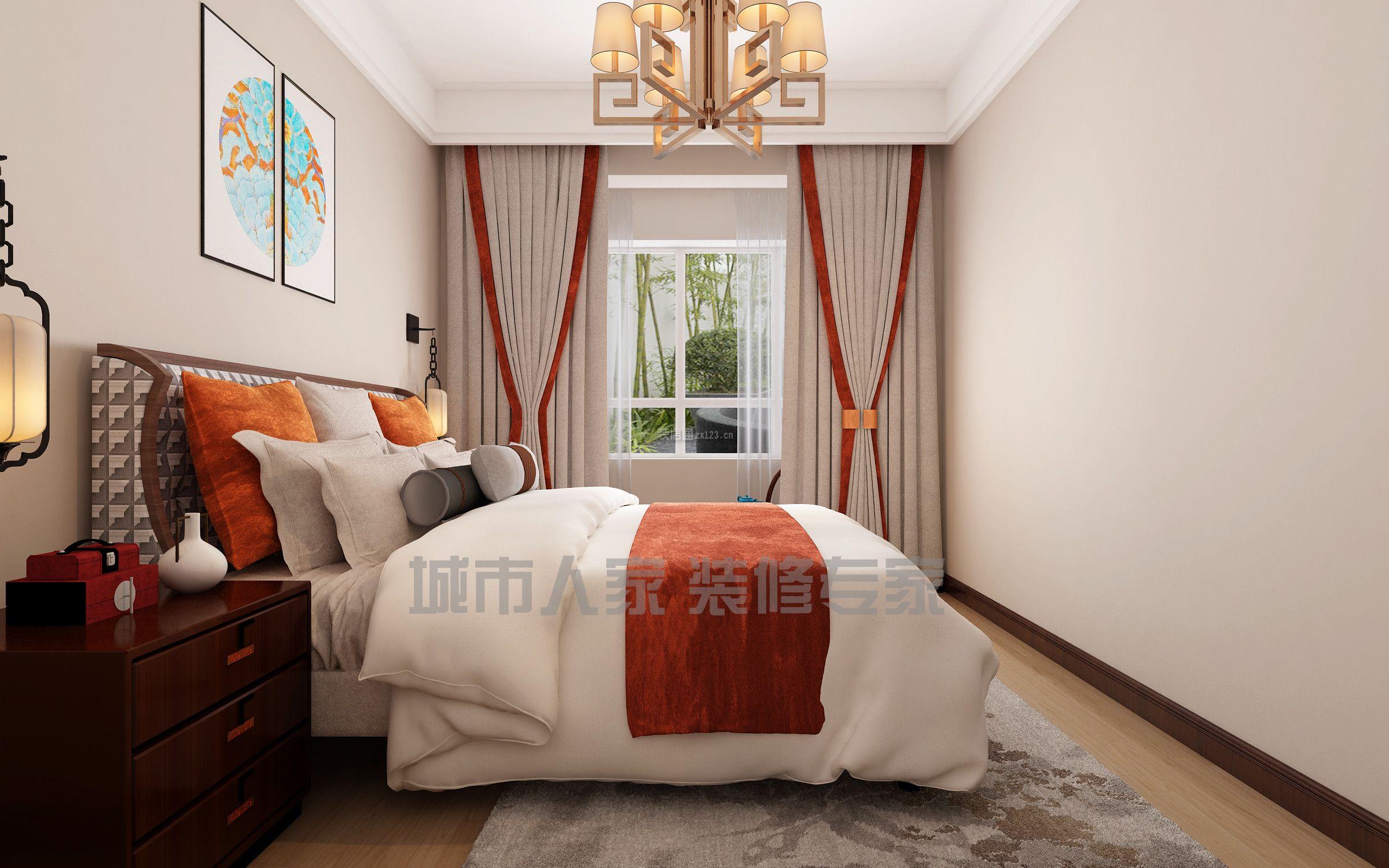 新中式风格143平三居室卧室窗帘家装效果图图片