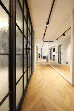 現代北歐風格139平米三居過道鏡子背景墻設計圖片