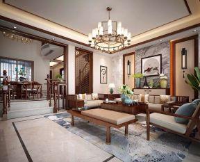 新中式风格120㎡三居客厅吊灯装修效果图