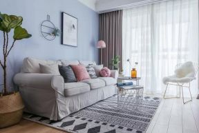 2018簡歐客廳家裝 客廳藍色背景墻 2018簡歐客廳地毯效果圖