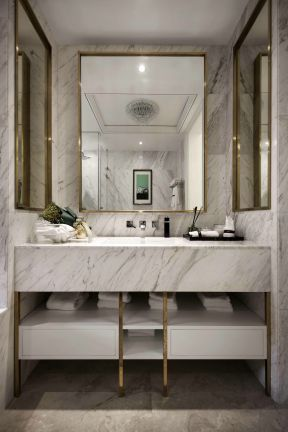 现代轻奢风格170平三居室卫生间洗手池设计图片