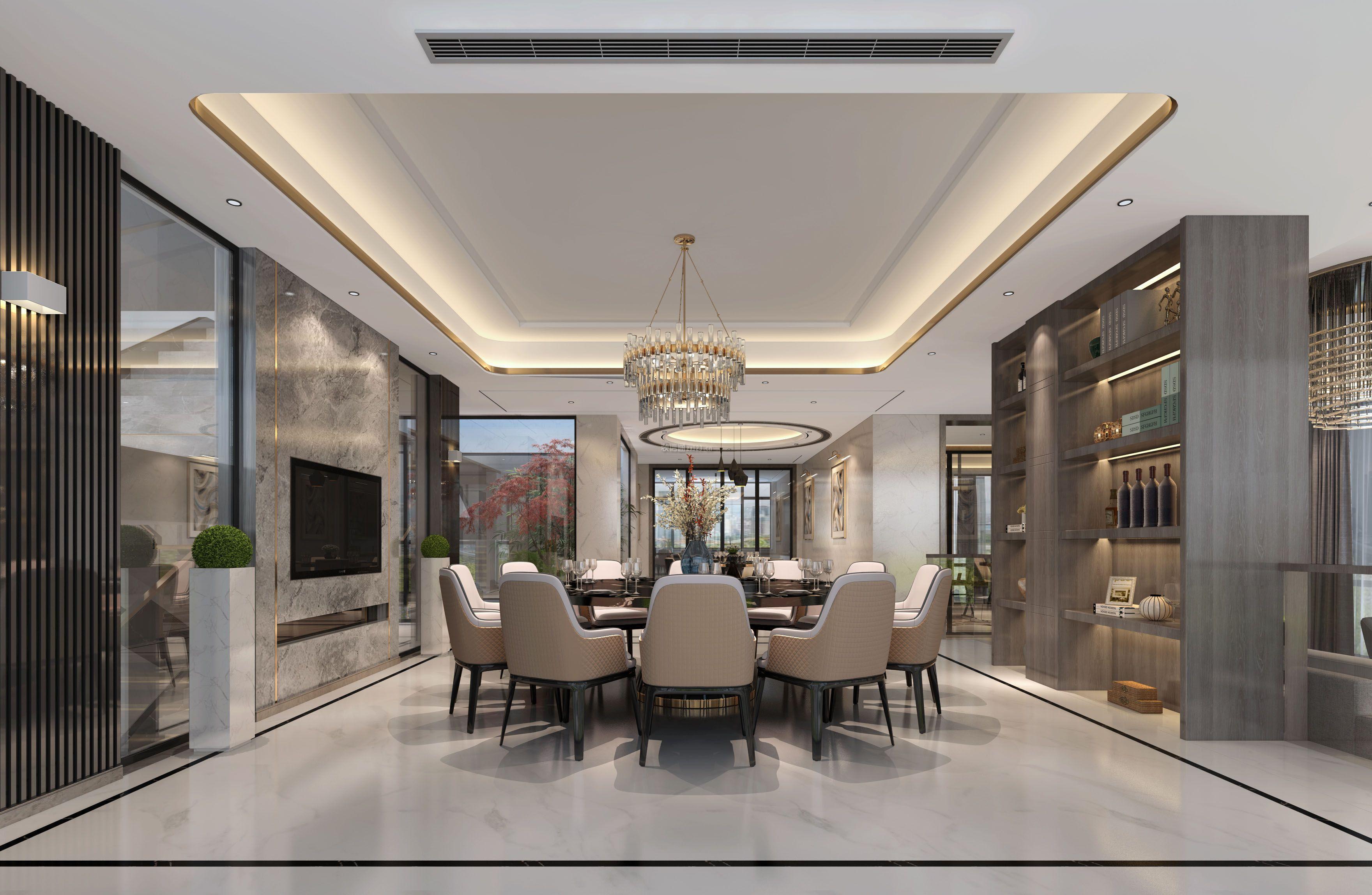 新中式别墅客厅装修效果图,新中式的装修风格中不仅涵盖了古典风格的