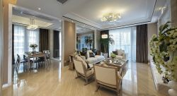 95平現代風格客廳地板瓷磚鋪設效果圖
