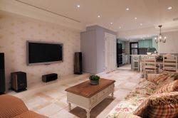 121平米田園風格三居客廳壁紙電視墻裝修效果圖