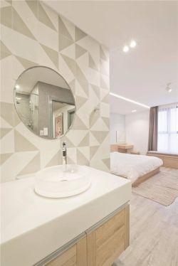 簡約風格家庭衛生間洗手臺鏡子效果圖