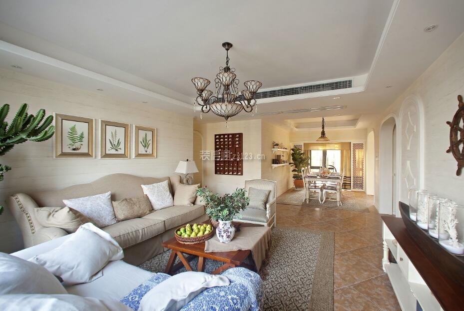 108平米家庭美式风格客厅灯装修设计图