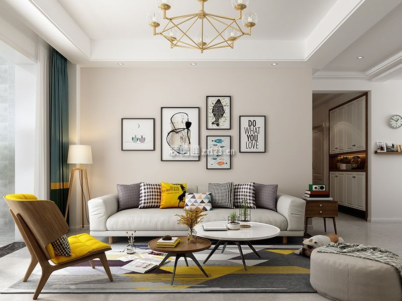 120平米简约北欧风格三居室客厅照片墙装修效果图
