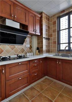 118平米簡美式三居室廚房實木櫥柜裝修圖片