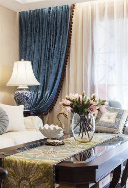 124平米美式風格三居客廳實木茶幾裝修實景圖