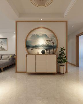 183平米四居室简约中式风格玄关背景墙装修效果图