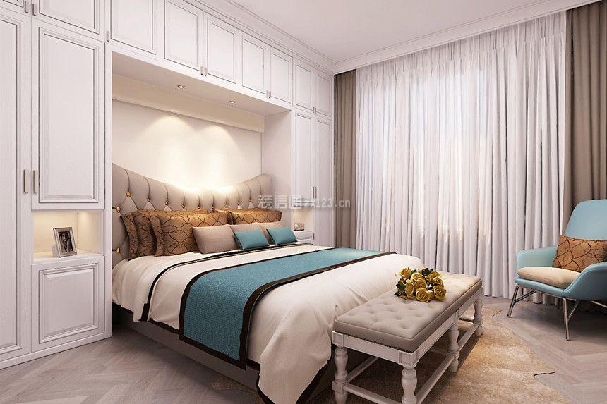 简约美式风格130平家庭卧室床头柜子效果图图片