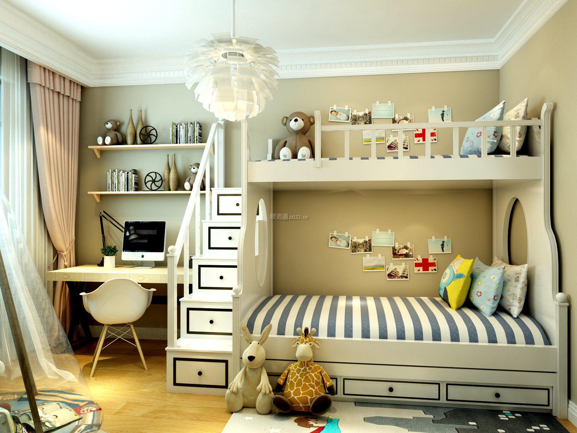 2018现代简约儿童房实木高低床图片_装修123效果图图片
