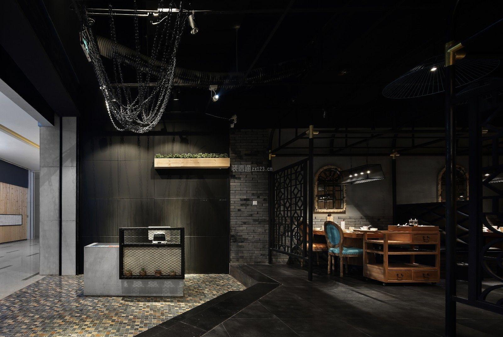 简约工业风格230平米火锅店前台背景墙装修效果图