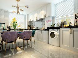 現代輕奢風格餐廳廚房一體設計圖片