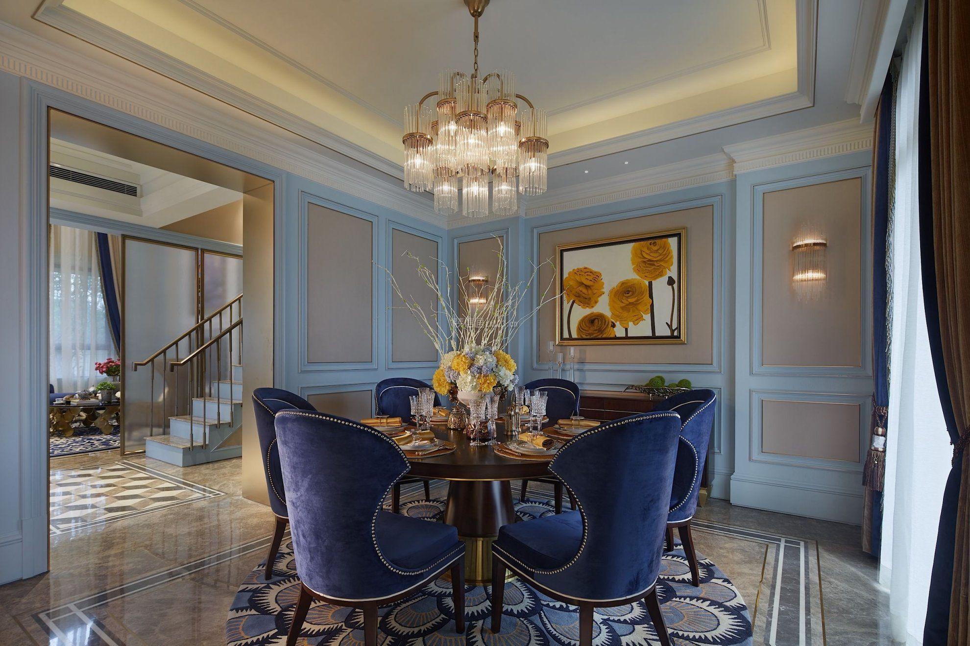 法式轻奢浪漫风格别墅餐厅吊顶灯具装修