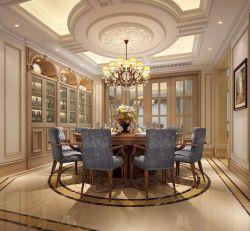 奢華歐式風別墅餐廳圓餐桌裝修圖