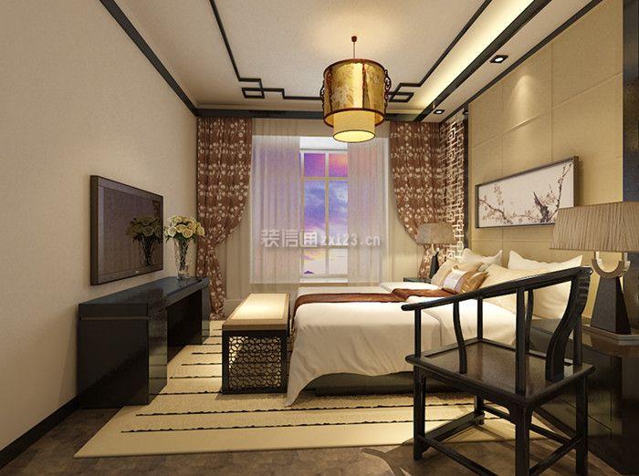 新中式风格家庭卧室窗帘装修设计效果图
