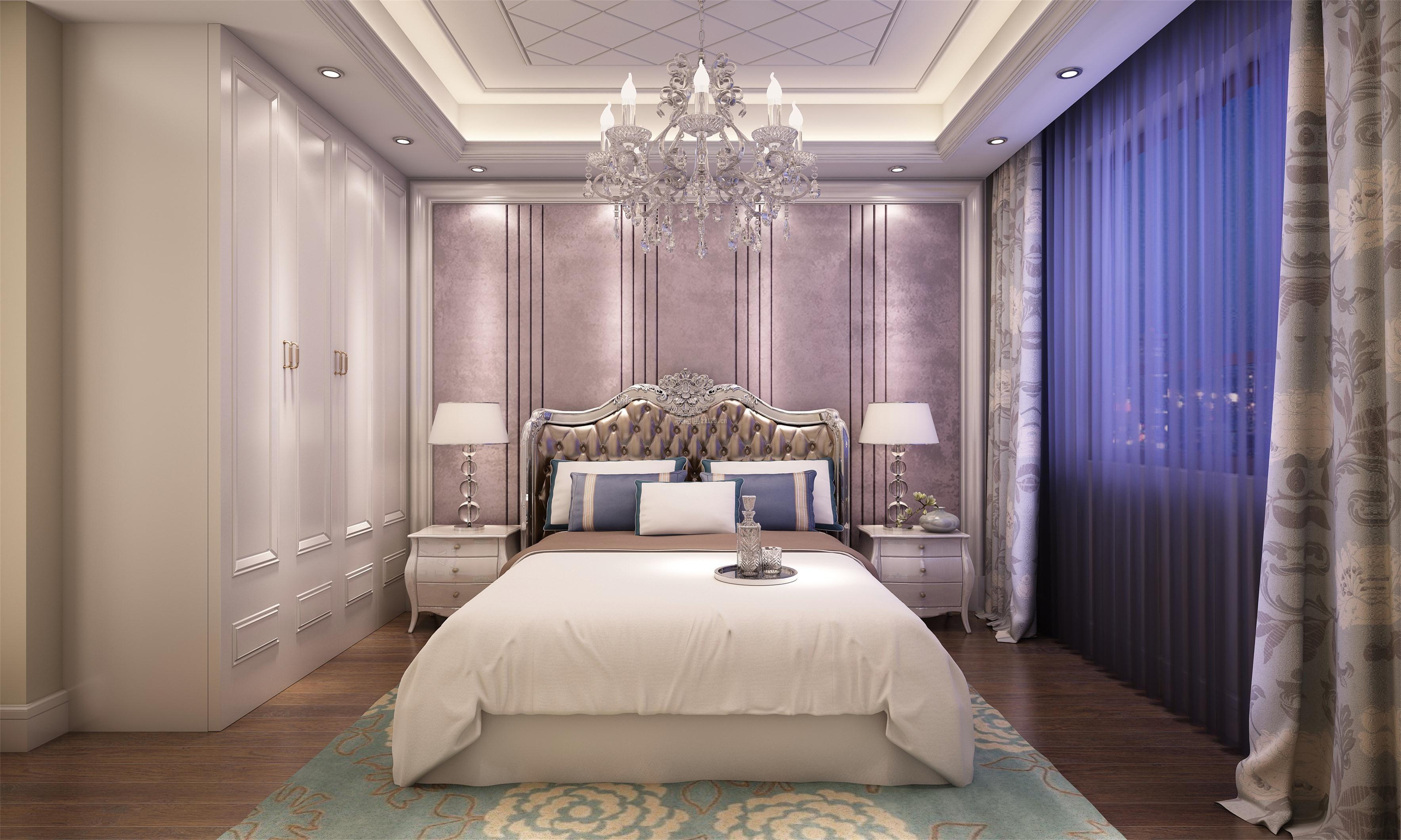 纯欧式风格主卧室装潢台灯摆放效果图