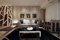 現代簡約復式客廳家具布藝沙發擺放效果圖