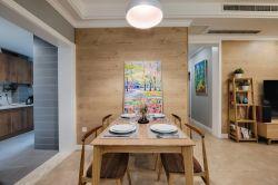 120平米簡約北歐風格三居室餐廳背景墻設計圖片