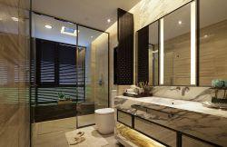 120平新中式新房衛生間玻璃隔斷裝潢圖片